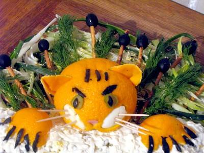 Украшения салаты новый год тигра