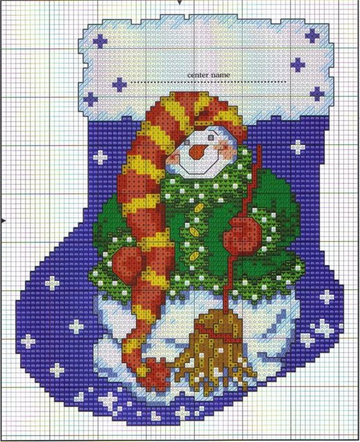 вышивка снеговик к новому году